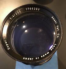 Vintage 200mm f/4 Honeywell Pentax Super-Takumar Lens, Original Case, Lens Caps