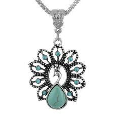 1PC Boho Turquoise Rhinestone Peacock Pendant Necklace For Women & Girls