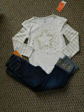 NWT Gymboree Star of the Show Ivory/Gold Sequin Star Top~Cuff Gem Jeans 4 4T