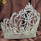 """Large 7"""" Tiara Crown Gold Headpiece Clear Crystal Wedding Bridal Pageant Party"""