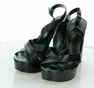 23-12 Women's Sz 10 M Michael Kors Leather Crisscross Platform Block Heel Sandal