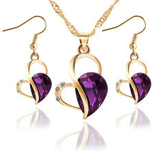 New Women's Rhinestone Purple Heart Necklace Pendant Set Gift Box Wedding Love