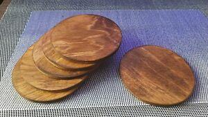 1 Plain Wooden Drinks Coasters Coffee Dining Table Worktop Desk Protectors