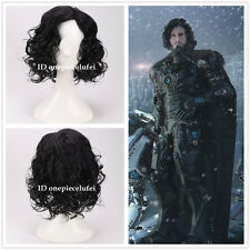 Game of Thrones Jon Snow Short Black Curly Synthetic Cosplay Wig +a wig cap