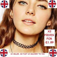 X2 PCS of Tattoo Choker Stretch Necklace New Black Retro Henna Vintage Boho UK