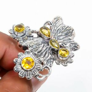 Brazilian Aaa+++ Citrine Vintage 925 Sterling Silver Butterfly Ring s.7 S2642