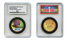 BUFFALO BILLS #1 DAD Licensed NFL 24KT Gold Clad JFK Coin in Slabbed Holder
