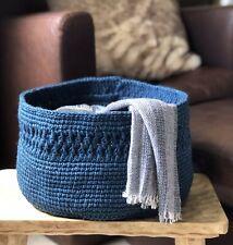 PETROLEUM BLUE JUTE BASKET. Storage basket. Knitting basket. Veg basket.