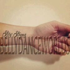 1 SET OF 3 STAY STRONG SCRIPT INSPIRATIONAL TEMPORARY TATTOO QUOTE BODY STICKER
