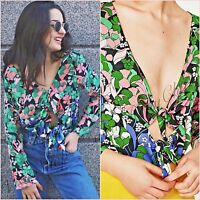 Zara Sateen Green Floral Bodysuit Long Sleeve Top Size M UK 10 US 6 Blogger ❤