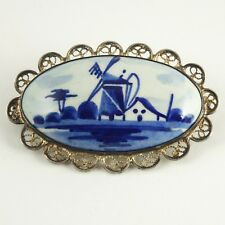 Dutch Delft Sterling Silver Oval Windmill Brooch / Pin, VINTAGE, CLASSIC, MINT