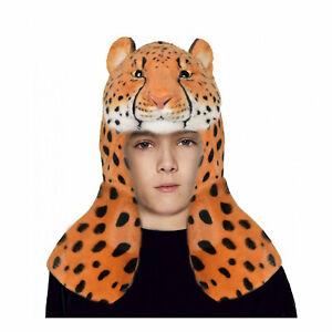 Adult Furry Plush Cheetah Cat Warrior Halloween Costume Headpiece Womens/Child
