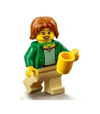 LEGO GIRL MINIFIGURE CITY Female Green Jacket Necklace Yellow Cup