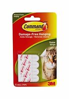 4 x Packs of  3M Command 12 Poster Hanging Strips Damage Free Hanging (4 x 12)