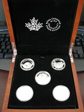 """2014 """"O Canada"""" Silver 5 X 25$ coin set in wooden RCM display box"""