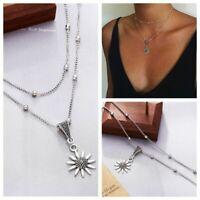 Retro Multi-layer Women Silver Sunflower Pendant Choker Necklace Chain Jewelry