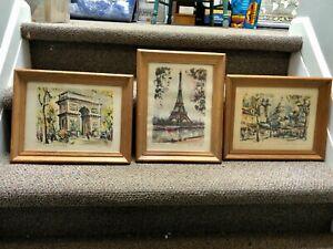 "3 Framed Vintage French Paris Midcentury Prints Watercolor Marius Girard 9 x 12"""