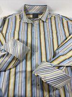 Thomas Dean Mens XL Blue Yellow White Striped Long Sleeve Shirt Flip Cuffs
