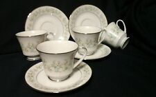 Noritake Savannah Cup & Saucer Coffee Tea Cup 2031 Japan Platinum Trim Set of 4