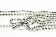 """WHOLESALE LOT 10 25 45 BALL CHAIN NECKLACE 2.4mm 30"""" NICKEL PLATED FREE SHIP USA"""