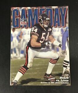 Rare 2002 Chicago Bears Detroit Lions Program Brain Urlacher Cover NFL Gameday