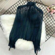 Women Lace Shirt Mesh Tops Sheer Turtle Neck Blouse Long Sleeve Slim Basic NR9