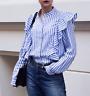 H&M Trend Frilled Stripe Ruffle Blouse Shirt Blue White UK 12 14 EU 38 40 BNWT