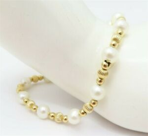 "14K Yellow Gold Ball Bead & ~6MM Pearls Beaded Bracelet 7.25"""