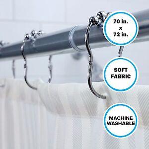 "70"" x 72"" Soft, Cream Satin Stripe Fabric Shower Curtain"