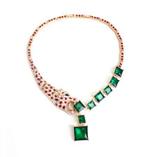 Statement Necklace Short Golden Red Emerald Green Strass Leopard Party FUN3