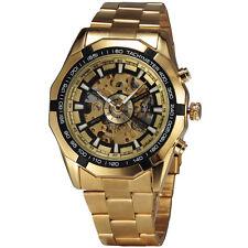 TOP Golden Skeleton Mechanical Watch Men Luxury Steel Band Relojes Hombre 2016