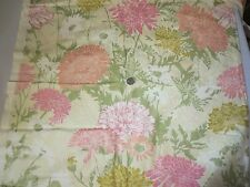 Vintage Bloomcraft Screen Print Sewing Fabric Mums pink  gold peach floral 6 yds