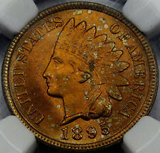 1895 Indian Head Cent Choice BU NGC MS-63 Red! A Frosty Orange-Red Coin, Superb!