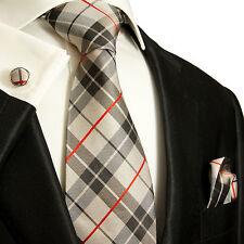 Beige schwarzes schottenmuster Krawatten Set 3tlg 100% Seidenkrawatte 983