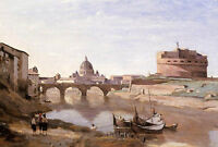 """Nice Oil painting Corot - Rome - Castle Sant Angelo children canoes by river 36"""""""