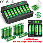 AA AAA Rechargeable Batteries NiMH 1.2V / AA AAA Battery LCD Fast Charger Lot