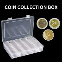100PCS 27mm Clear Round Case Coin Storage Capsules Holder Containers with Box