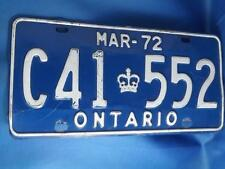 ONTARIO LICENSE PLATE 1972 C41 552 CROWN VINTAGE CAR SHOP GARAGE MAN CAVE SIGN