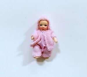 Dollhouse Miniature Dressed Porcelain  Baby Girl Doll