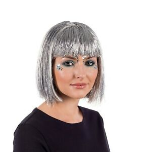 Women`s Deluxe Silver Glitter Wig Adult Silver Bob Hair for Festival Party Club