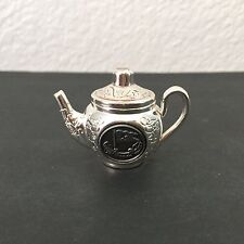 "Vintage Dollhouse Miniature Chrome Plate White Star Line Metal Teapot 1⅞"" x 1⅜"""