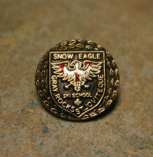 VINTAGE 'SNOW EAGLE' 'SKI SCHOOL' 'GRAY ROCKS' 'ST. JOVITE' ENAMEL METAL PIN