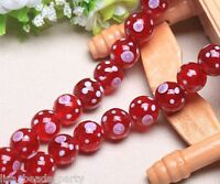10pcs 14mm Round Handmade Lampwork Glass Flowers Dot Charms Loose Beads Red