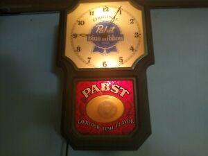 Vintage PABST BLUE RIBBON BEER Lighted WALL Regulator CLOCK w/ Pendulum SIGN