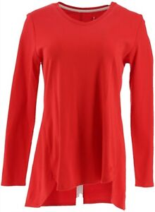 Isaac Mizrahi Essentials Pima Cotton Hi-Low Hem Top Lipstick Red XL NEW A343365