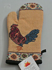 Roosters Design Oven Mitt with Flowers 7x12 inches by RaaKha