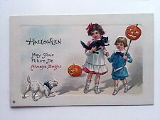 1910 Halloween Postcard Victorian Style Kids w/ Black Cat Scared by Dog