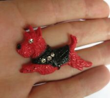 Vintage Art Deco Red Scottie Dog Plastic Brooch