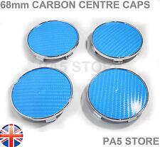 CARBON SKY BLUE WHEEL CENTRE CAPS 68mm UNIVERSAL BMW MV1 MV2 E46 E36 E90 E34 M3