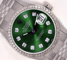 Rolex Datejust Stainless Steel 36mm Watch-Green Diamond Dial-Diamond Bezel-Box